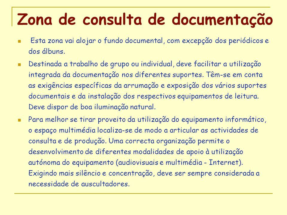 Zona de consulta de documentação  Esta zona vai alojar o fundo documental, com excepção dos periódicos e dos álbuns.  Destinada a trabalho de grupo