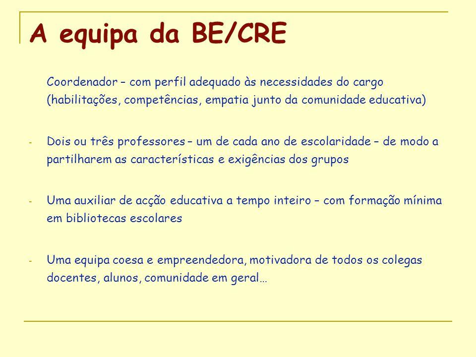 A equipa da BE/CRE Coordenador – com perfil adequado às necessidades do cargo (habilitações, competências, empatia junto da comunidade educativa) - Do