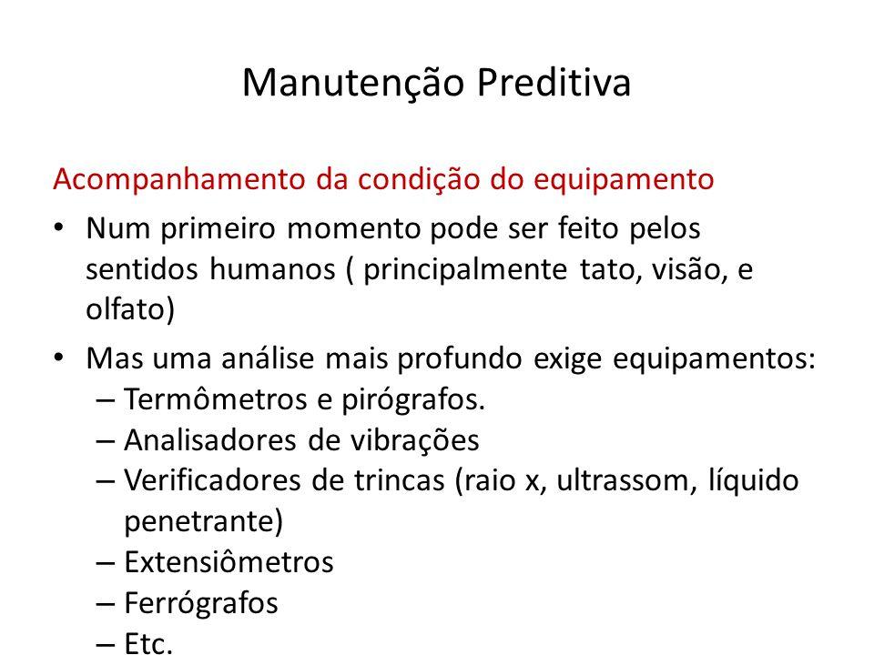 Manutenção Preditiva Acompanhamento da condição do equipamento • Num primeiro momento pode ser feito pelos sentidos humanos ( principalmente tato, vis