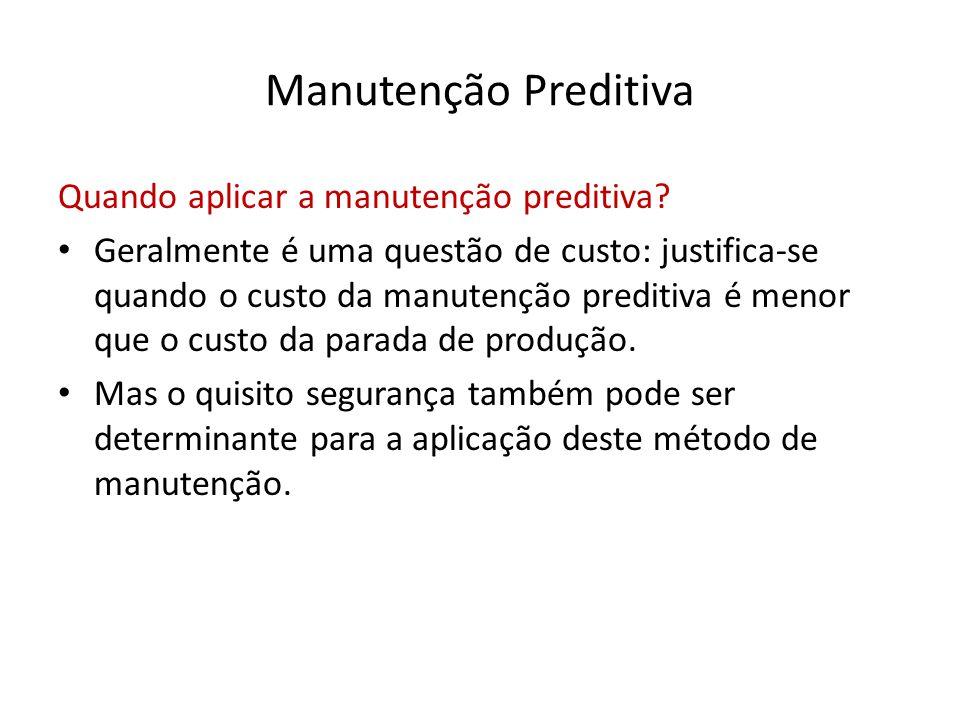Manutenção Preditiva Quando aplicar a manutenção preditiva? • Geralmente é uma questão de custo: justifica-se quando o custo da manutenção preditiva é