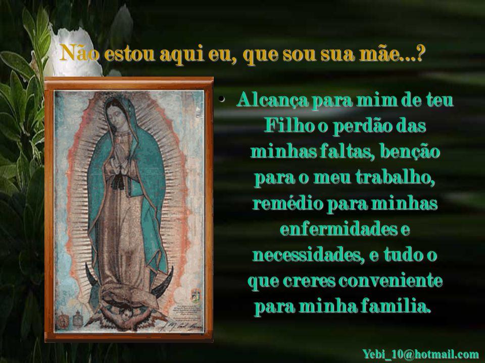 Não estou aqui eu, que sou sua mãe...? • Dê-nos uma prova de teu amor e bondade e receba nossas preces e orações. Oh Puríssima Virgem de Guadalupe. Oh