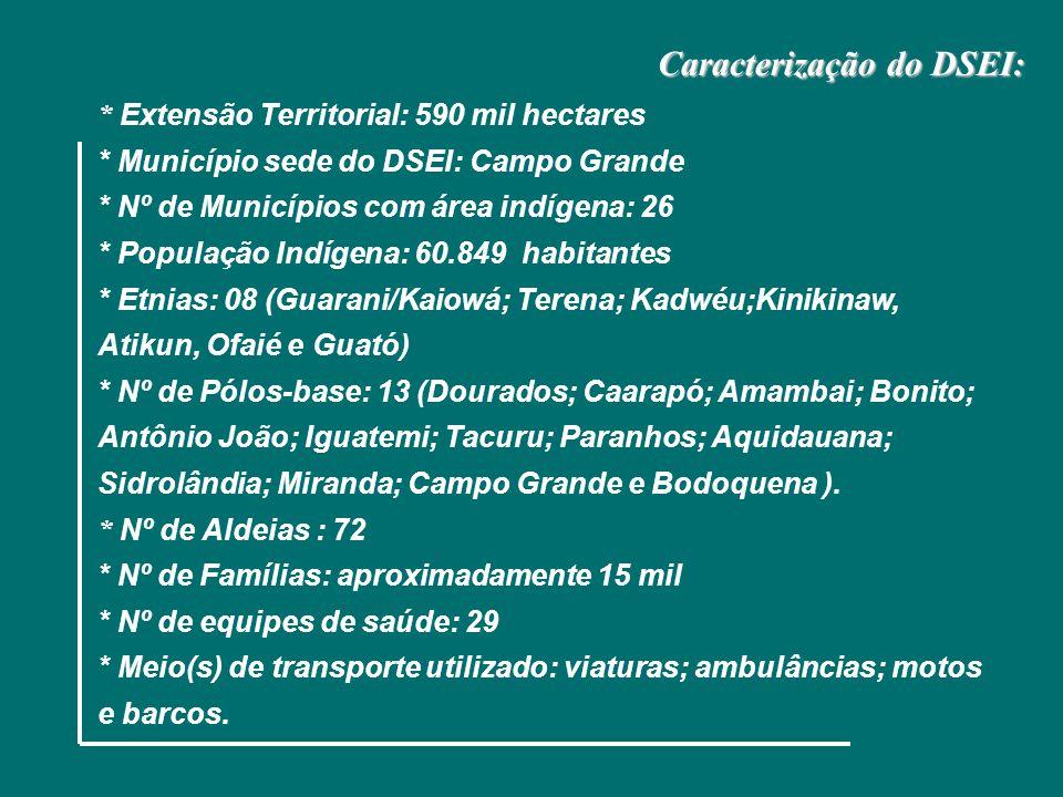 Ministério da Saúde Fundação Nacional de Saúde Caracterização do DSEI: * Extensão Territorial: 590 mil hectares * Município sede do DSEI: Campo Grande * Nº de Municípios com área indígena: 26 * População Indígena: 60.849 habitantes * Etnias: 08 (Guarani/Kaiowá; Terena; Kadwéu;Kinikinaw, Atikun, Ofaié e Guató) * Nº de Pólos-base: 13 (Dourados; Caarapó; Amambai; Bonito; Antônio João; Iguatemi; Tacuru; Paranhos; Aquidauana; Sidrolândia; Miranda; Campo Grande e Bodoquena ).