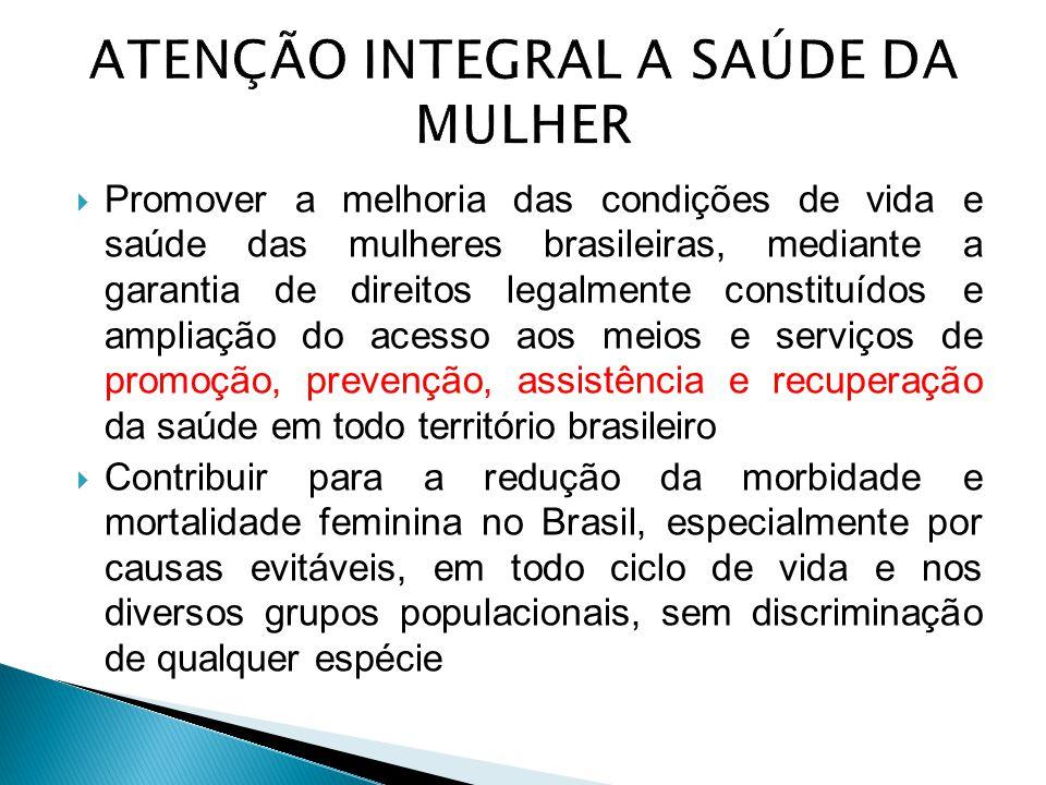  Promover a melhoria das condições de vida e saúde das mulheres brasileiras, mediante a garantia de direitos legalmente constituídos e ampliação do a