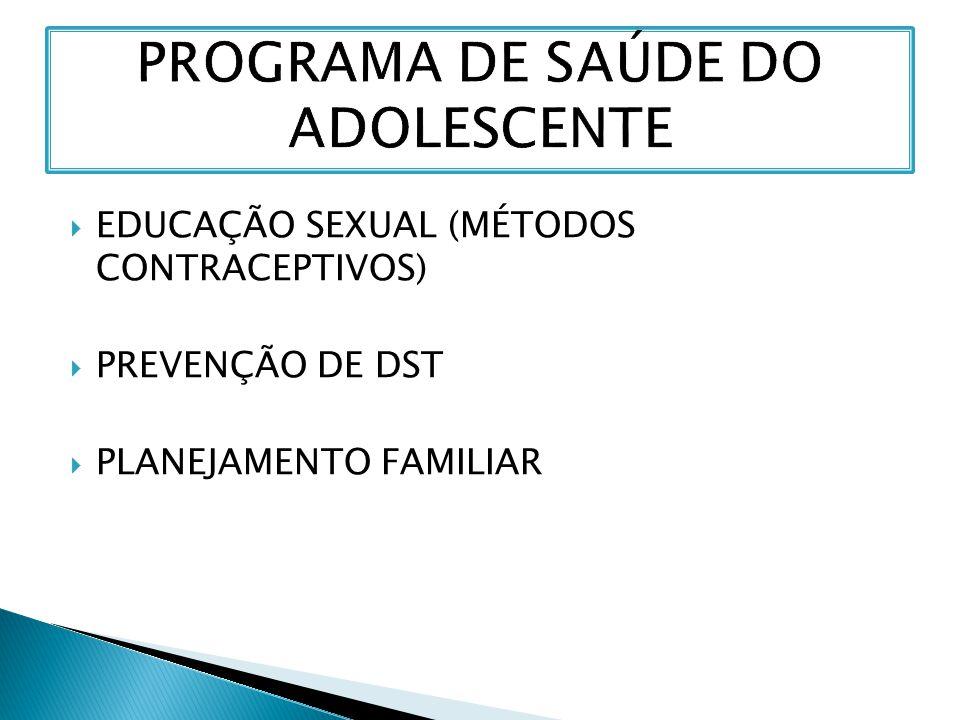  EDUCAÇÃO SEXUAL (MÉTODOS CONTRACEPTIVOS)  PREVENÇÃO DE DST  PLANEJAMENTO FAMILIAR