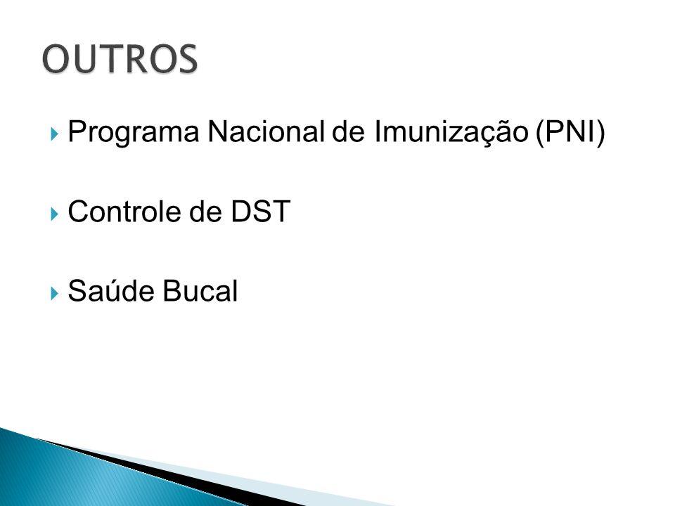  Programa Nacional de Imunização (PNI)  Controle de DST  Saúde Bucal