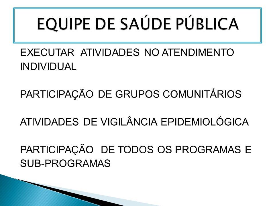 EXECUTAR ATIVIDADES NO ATENDIMENTO INDIVIDUAL PARTICIPAÇÃO DE GRUPOS COMUNITÁRIOS ATIVIDADES DE VIGILÂNCIA EPIDEMIOLÓGICA PARTICIPAÇÃO DE TODOS OS PRO