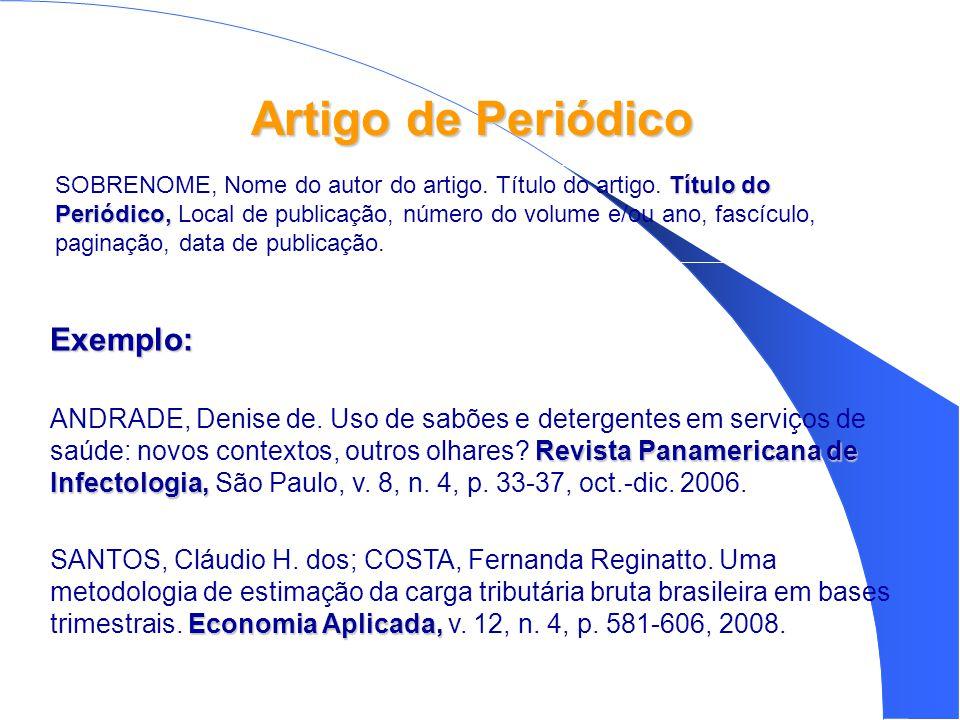 Artigo de Periódico Exemplo: Revista Panamericana de Infectologia, ANDRADE, Denise de.