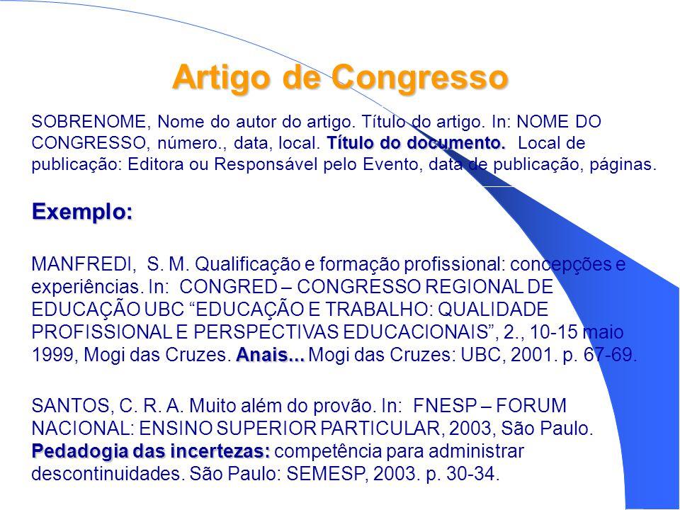 Artigo de Congresso Exemplo: Anais...MANFREDI, S.