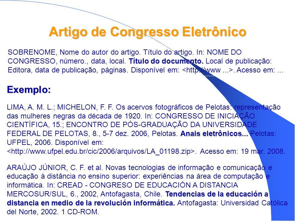 Artigo de Congresso Eletrônico Exemplo: Anais eletrônicos...