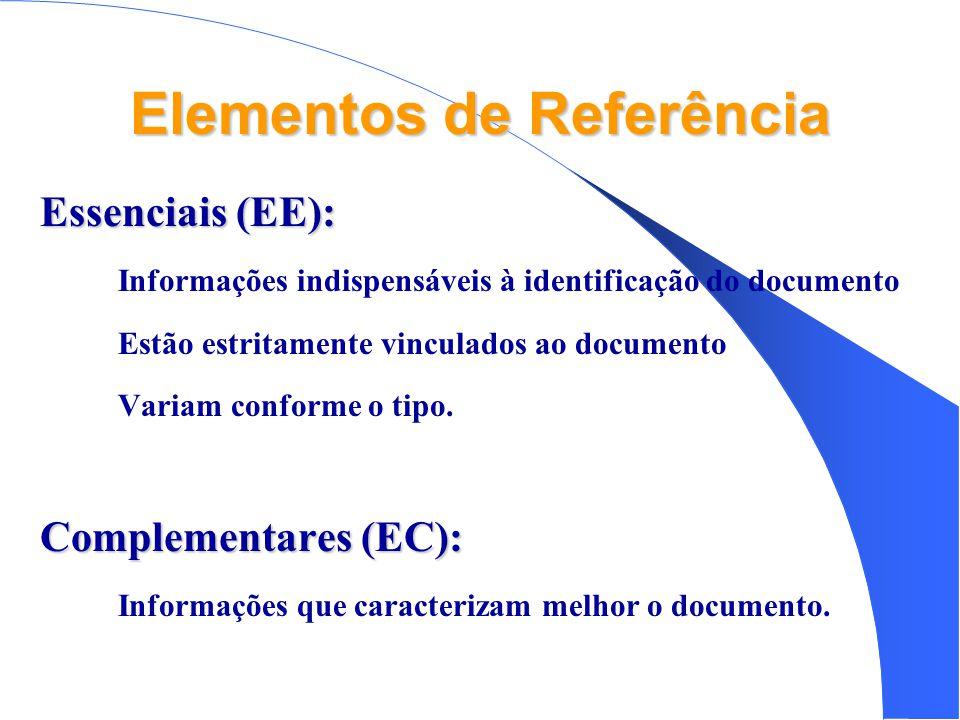 Elementos de Referência Essenciais (EE): • Informações indispensáveis à identificação do documento • Estão estritamente vinculados ao documento • Variam conforme o tipo.