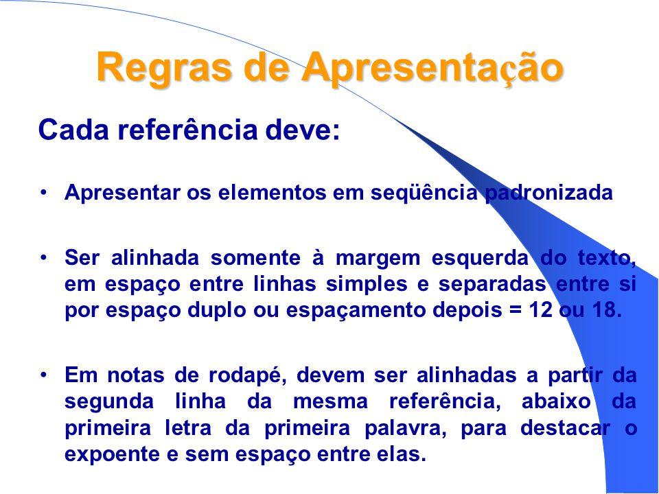 Regras de Apresenta ç ão •Apresentar os elementos em seqüência padronizada •Ser alinhada somente à margem esquerda do texto, em espaço entre linhas simples e separadas entre si por espaço duplo ou espaçamento depois = 12 ou 18.