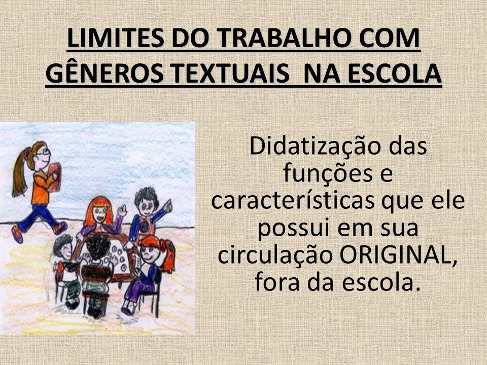 LIMITES DO TRABALHO COM GÊNEROS TEXTUAIS NA ESCOLA Didatização das funções e características que ele possui em sua circulação ORIGINAL, fora da escola