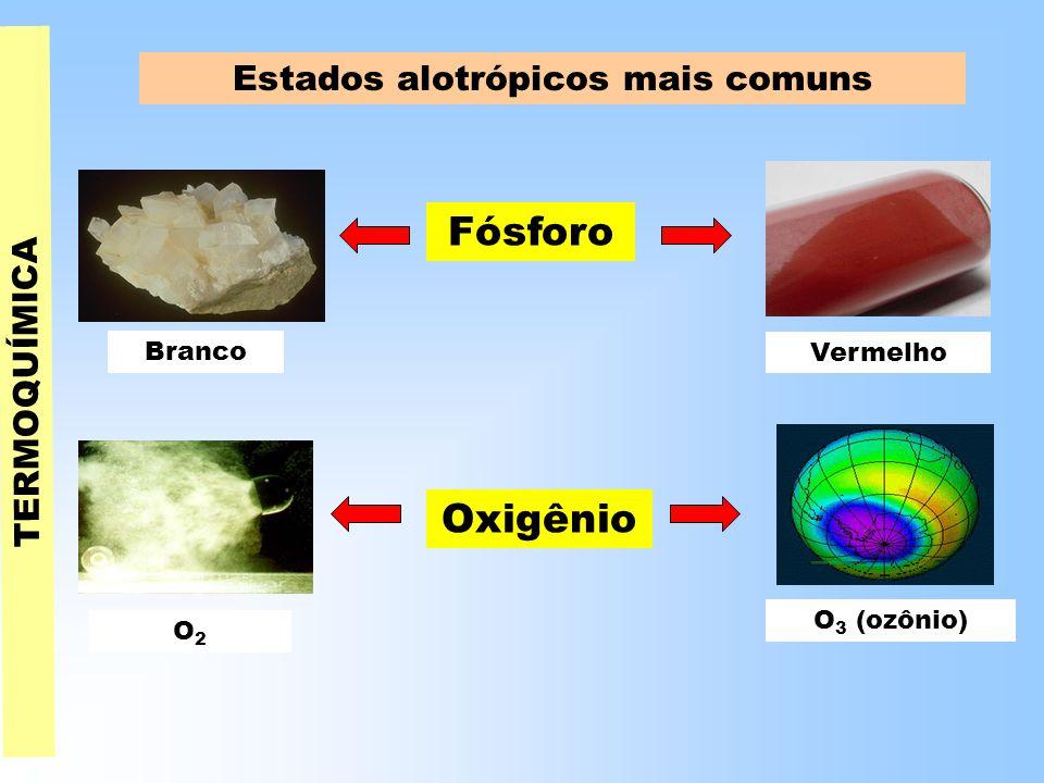 TERMOQUÍMICA Estados alotrópicos mais comuns Fósforo Oxigênio Vermelho O2O2 O 3 (ozônio) Branco