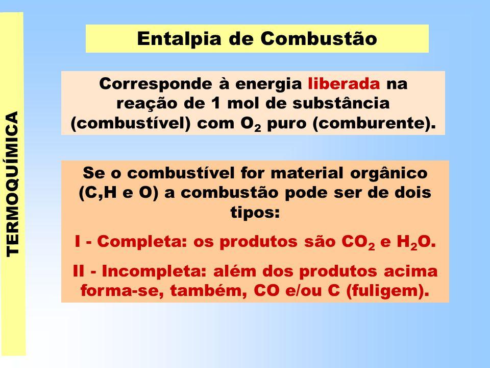 TERMOQUÍMICA Entalpia de Combustão Corresponde à energia liberada na reação de 1 mol de substância (combustível) com O 2 puro (comburente).