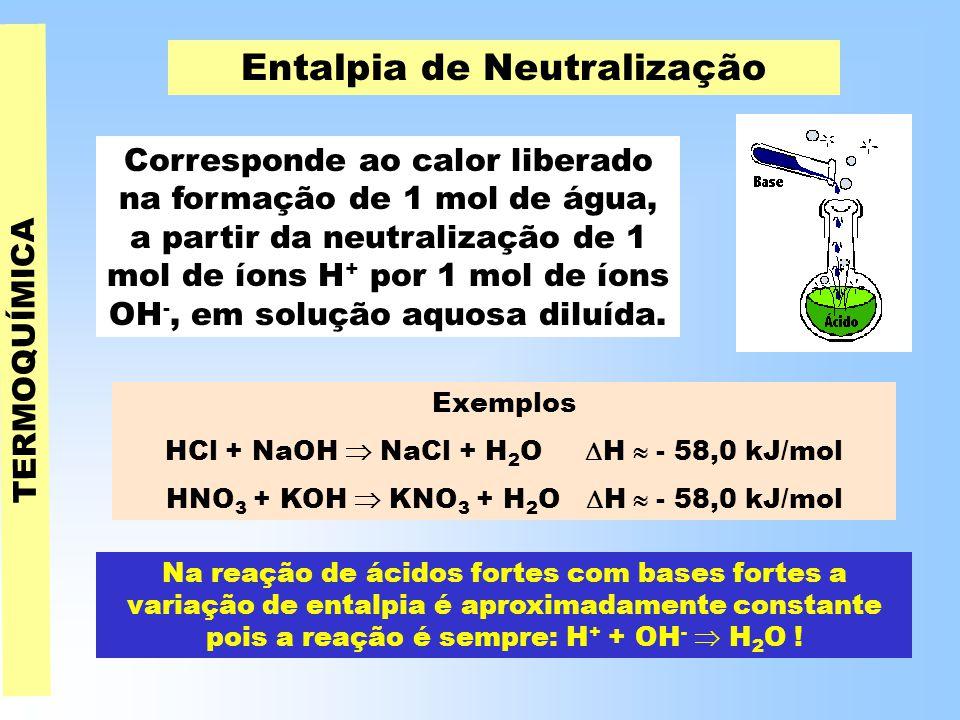 TERMOQUÍMICA Entalpia de Neutralização Corresponde ao calor liberado na formação de 1 mol de água, a partir da neutralização de 1 mol de íons H + por 1 mol de íons OH -, em solução aquosa diluída.