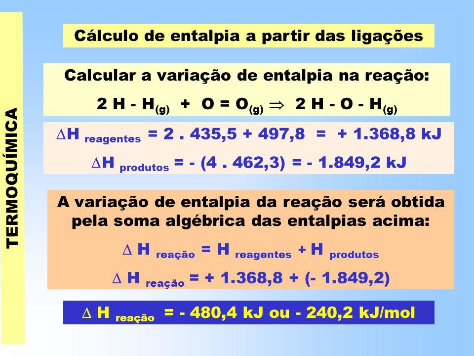 TERMOQUÍMICA Cálculo de entalpia a partir das ligações Calcular a variação de entalpia na reação: 2 H - H (g) + O = O (g)  2 H - O - H (g)  H reagentes = 2.