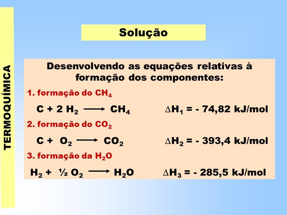 TERMOQUÍMICA Solução Desenvolvendo as equações relativas à formação dos componentes: 1.
