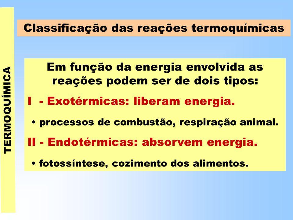 Em função da energia envolvida as reações podem ser de dois tipos: I - Exotérmicas: liberam energia.