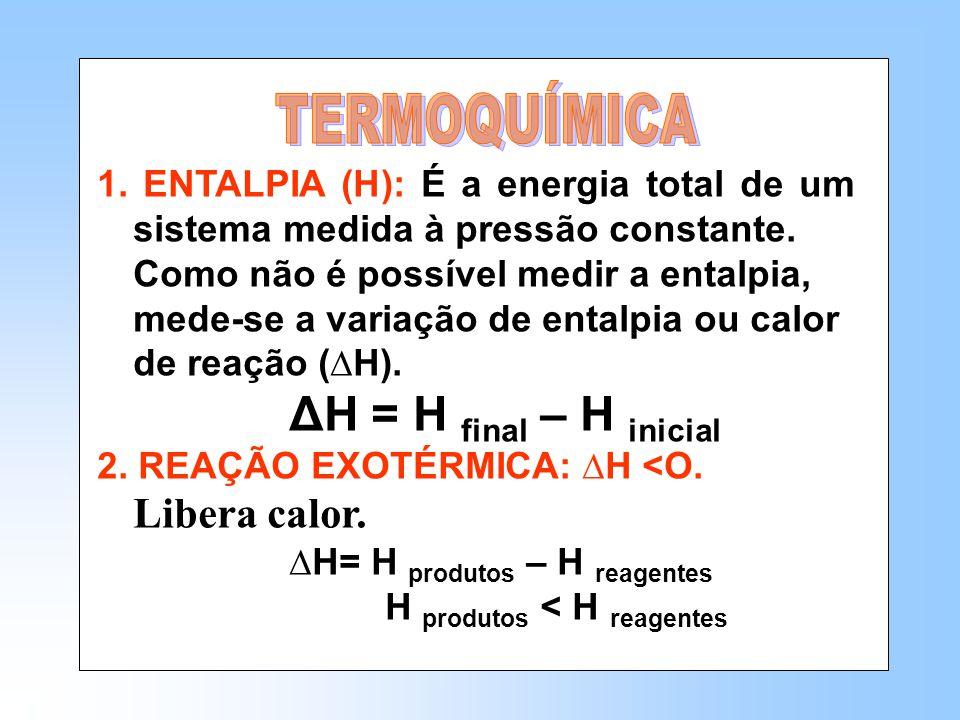 1.ENTALPIA (H): É a energia total de um sistema medida à pressão constante.