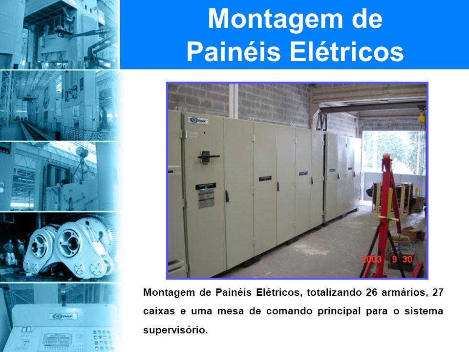 Montagem de Painéis Elétricos, totalizando 26 armários, 27 caixas e uma mesa de comando principal para o sistema supervisório. Montagem de Painéis Elé