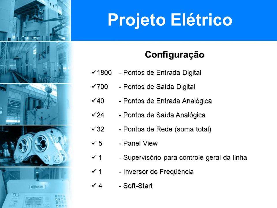 Configuração Configuração  1800 - Pontos de Entrada Digital  700 - Pontos de Saída Digital  40 - Pontos de Entrada Analógica  24 - Pontos de Saída Analógica  32- Pontos de Rede (soma total)  5 - Panel View  1 - Supervisório para controle geral da linha  1 - Inversor de Freqüência  4 - Soft-Start Projeto Elétrico