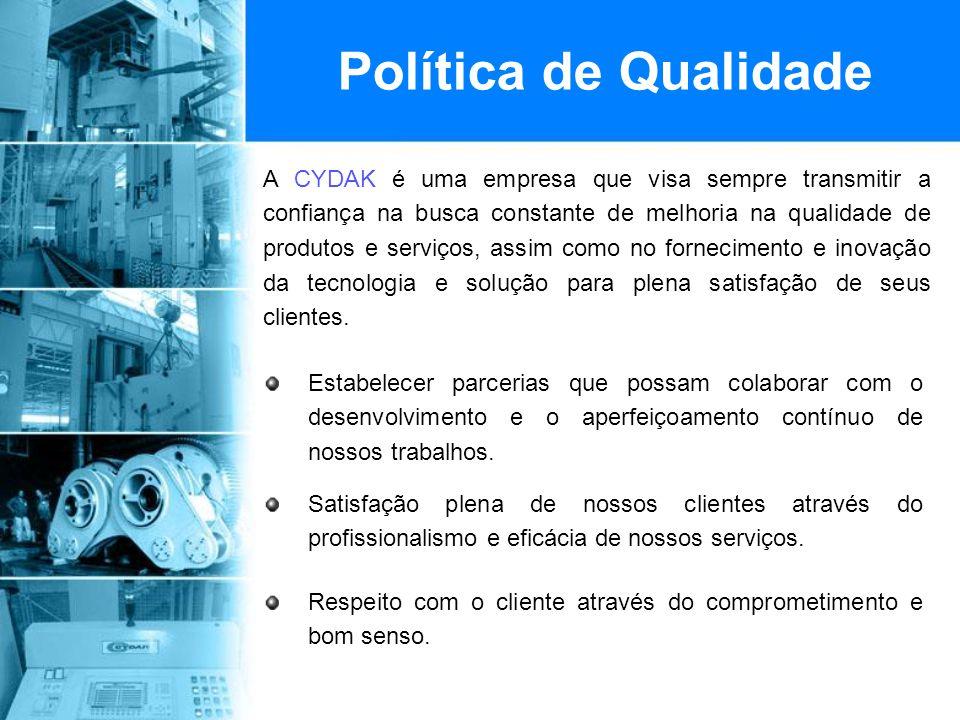Política de Qualidade Estabelecer parcerias que possam colaborar com o desenvolvimento e o aperfeiçoamento contínuo de nossos trabalhos.