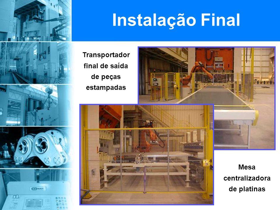 Transportador final de saída de peças estampadas Instalação Final Mesa centralizadora de platinas