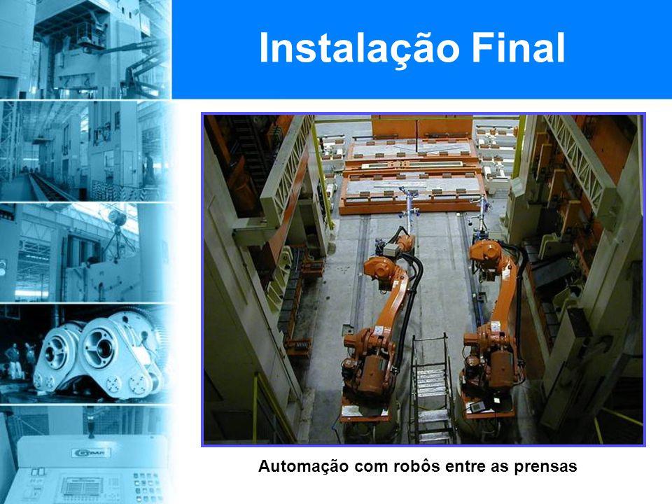Automação com robôs entre as prensas Instalação Final