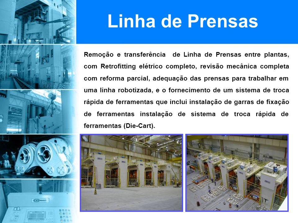 Linha de Prensas Remoção e transferência de Linha de Prensas entre plantas, com Retrofitting elétrico completo, revisão mecânica completa com reforma