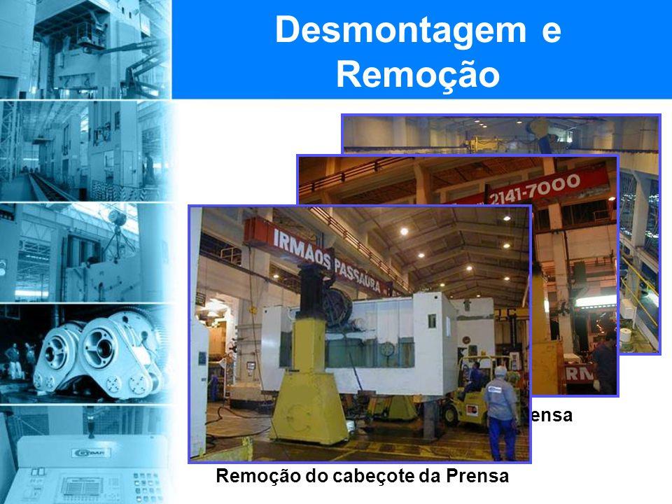 Inicio da desmontagem da linha de prensas Desmontagem e Remoção Remoção do cabeçote da Prensa