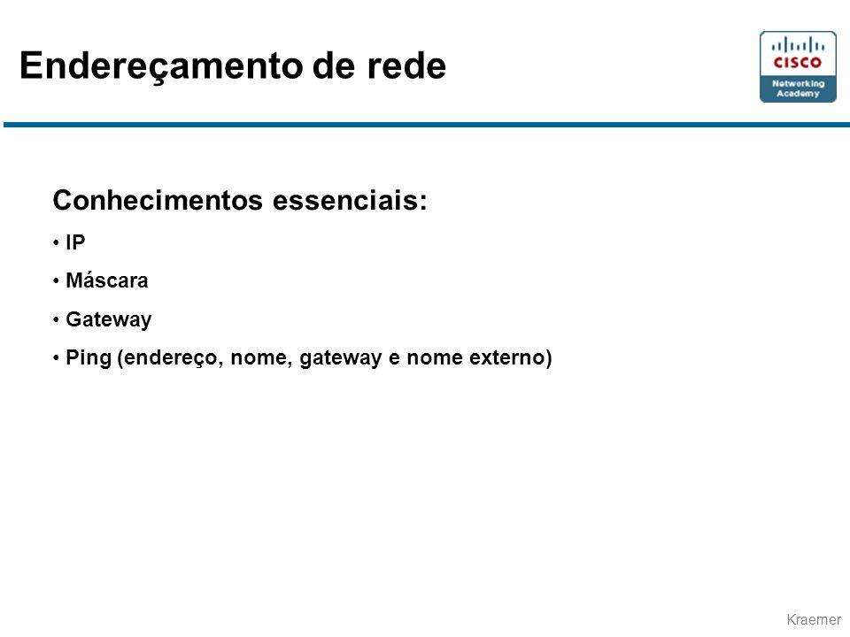 Kraemer Conhecimentos essenciais: • IP • Máscara • Gateway • Ping (endereço, nome, gateway e nome externo) Endereçamento de rede