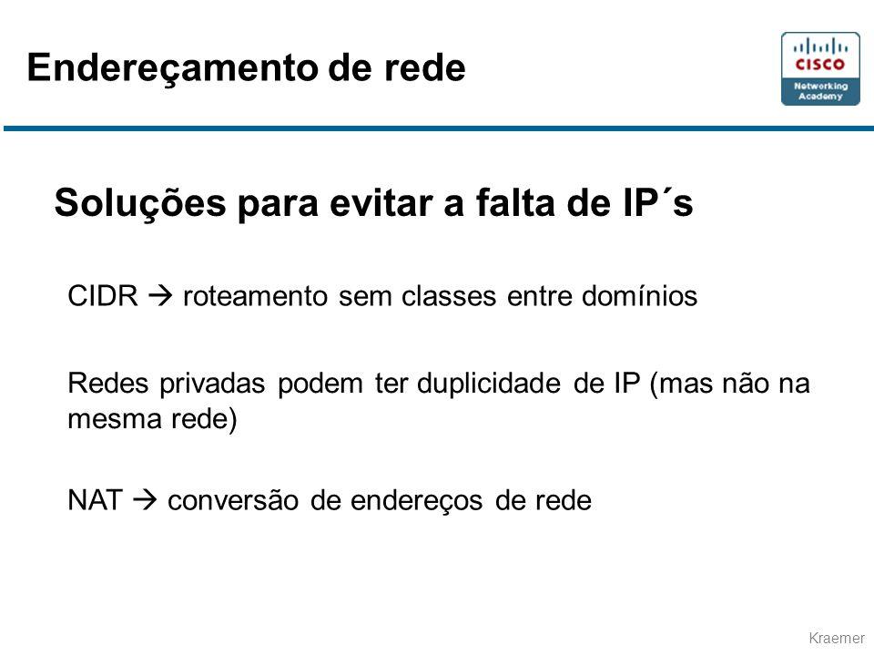Kraemer Soluções para evitar a falta de IP´s CIDR  roteamento sem classes entre domínios Redes privadas podem ter duplicidade de IP (mas não na mesma rede) NAT  conversão de endereços de rede Endereçamento de rede