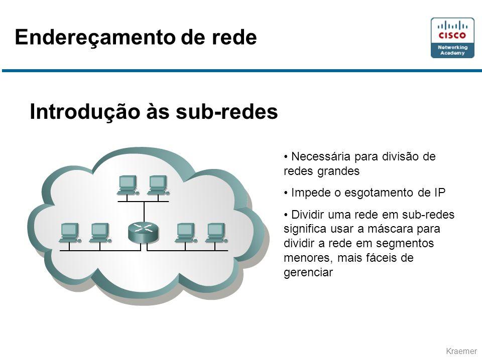 Kraemer Introdução às sub-redes • Necessária para divisão de redes grandes • Impede o esgotamento de IP • Dividir uma rede em sub-redes significa usar a máscara para dividir a rede em segmentos menores, mais fáceis de gerenciar Endereçamento de rede