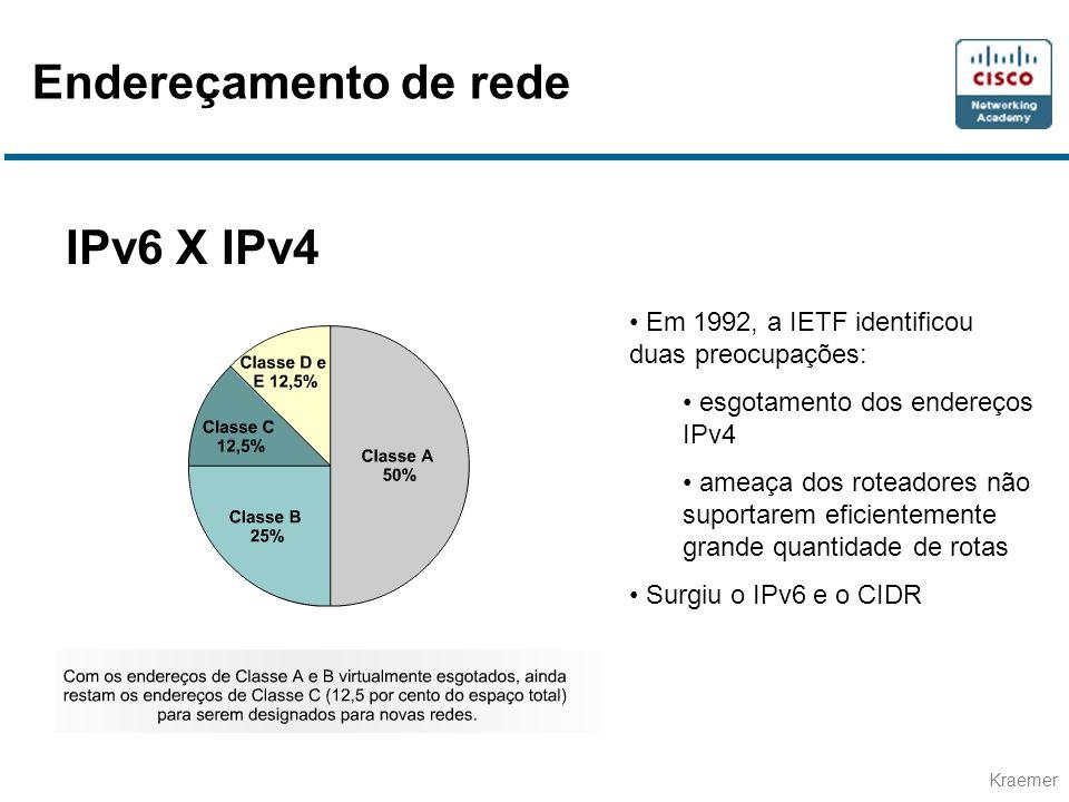 Kraemer IPv6 X IPv4 • Em 1992, a IETF identificou duas preocupações: • esgotamento dos endereços IPv4 • ameaça dos roteadores não suportarem eficientemente grande quantidade de rotas • Surgiu o IPv6 e o CIDR Endereçamento de rede