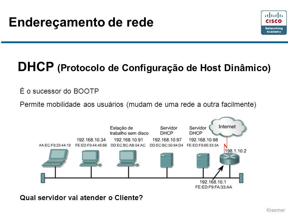 Kraemer DHCP (Protocolo de Configuração de Host Dinâmico) É o sucessor do BOOTP Permite mobilidade aos usuários (mudam de uma rede a outra facilmente) Qual servidor vai atender o Cliente.
