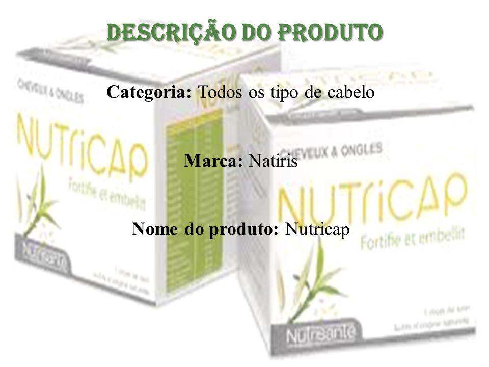 Descrição do Produto Categoria: Todos os tipo de cabelo Marca: Natiris Nome do produto: Nutricap