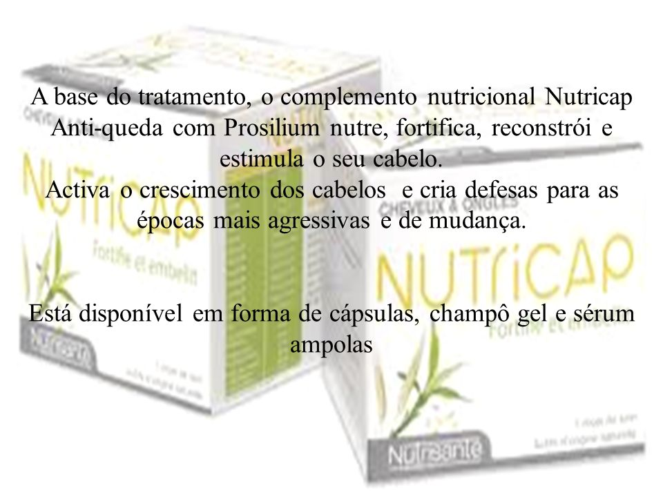 A base do tratamento, o complemento nutricional Nutricap Anti-queda com Prosilium nutre, fortifica, reconstrói e estimula o seu cabelo. Activa o cresc