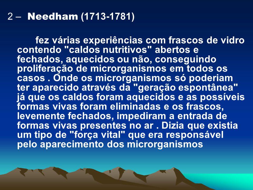 2 – Needham (1713-1781) fez várias experiências com frascos de vidro contendo