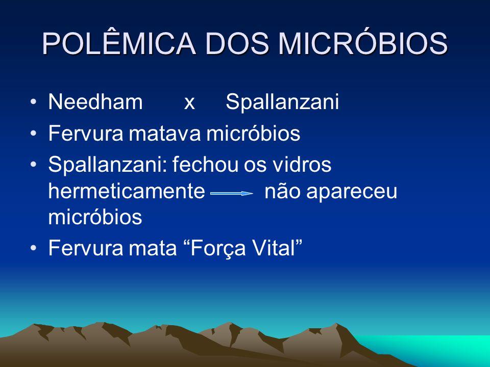 POLÊMICA DOS MICRÓBIOS •Needham x Spallanzani •Fervura matava micróbios •Spallanzani: fechou os vidros hermeticamente não apareceu micróbios •Fervura