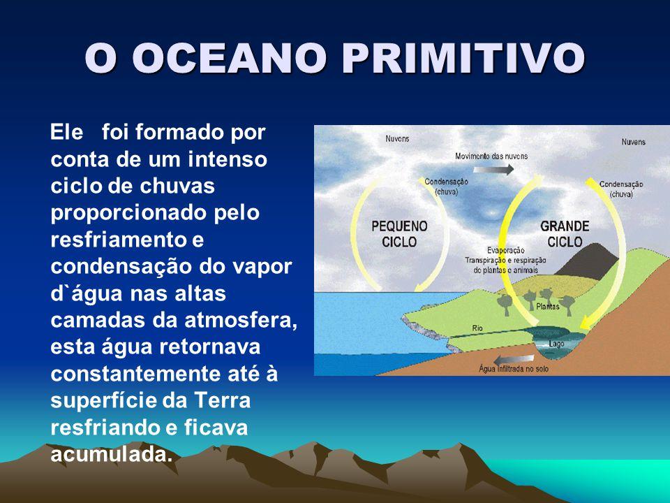 O OCEANO PRIMITIVO Ele foi formado por conta de um intenso ciclo de chuvas proporcionado pelo resfriamento e condensação do vapor d`água nas altas cam