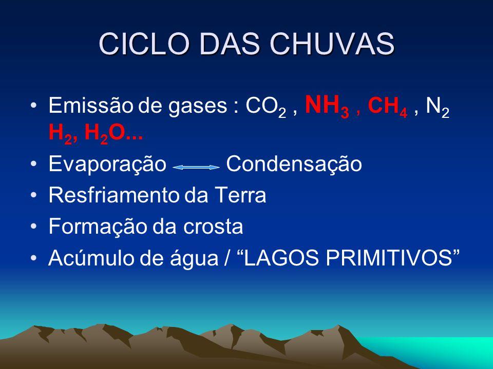 CICLO DAS CHUVAS •Emissão de gases : CO 2, NH 3, CH 4, N 2 H 2, H 2 O... •Evaporação Condensação •Resfriamento da Terra •Formação da crosta •Acúmulo d