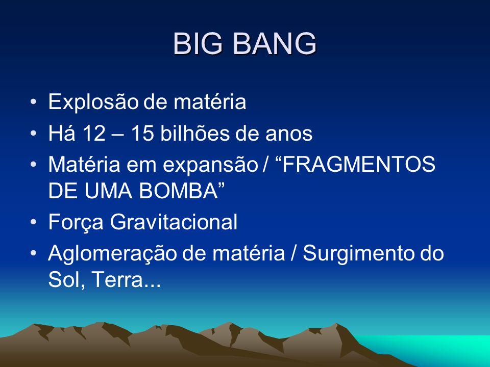 """BIG BANG •E•Explosão de matéria •H•Há 12 – 15 bilhões de anos •M•Matéria em expansão / """"FRAGMENTOS DE UMA BOMBA"""" •F•Força Gravitacional •A•Aglomeração"""