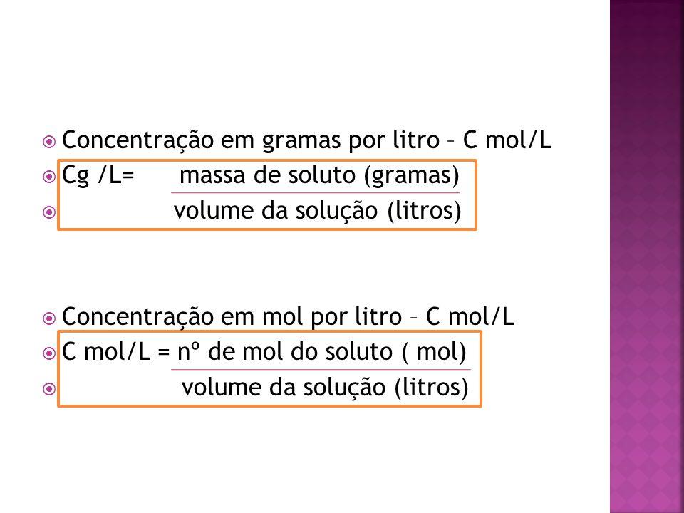 Concentração em gramas por litro – C mol/L  Cg /L= massa de soluto (gramas)  volume da solução (litros)  Concentração em mol por litro – C mol/L