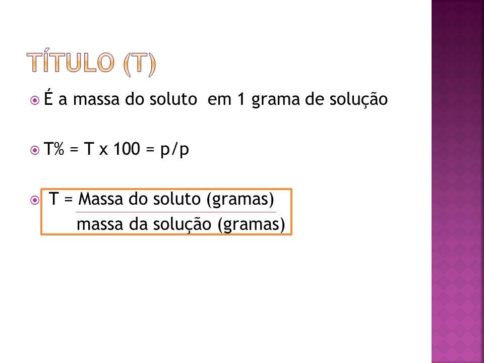  É a massa do soluto em 1 grama de solução  T% = T x 100 = p/p  T = Massa do soluto (gramas) massa da solução (gramas)