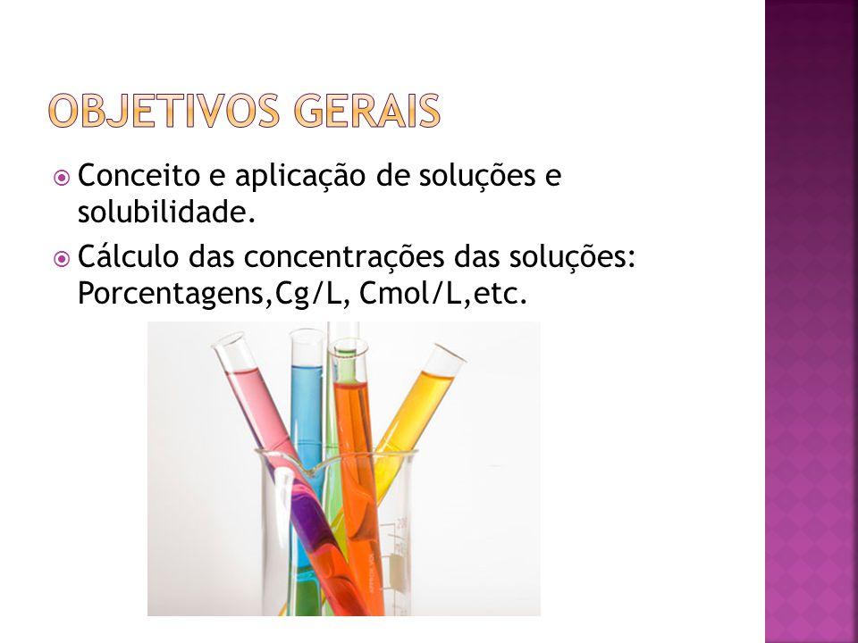  Conceito e aplicação de soluções e solubilidade.  Cálculo das concentrações das soluções: Porcentagens,Cg/L, Cmol/L,etc.