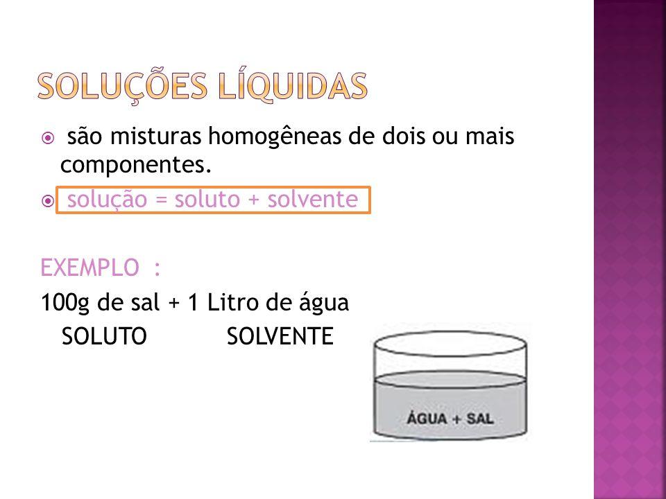  são misturas homogêneas de dois ou mais componentes.  solução = soluto + solvente EXEMPLO : 100g de sal + 1 Litro de água SOLUTO SOLVENTE