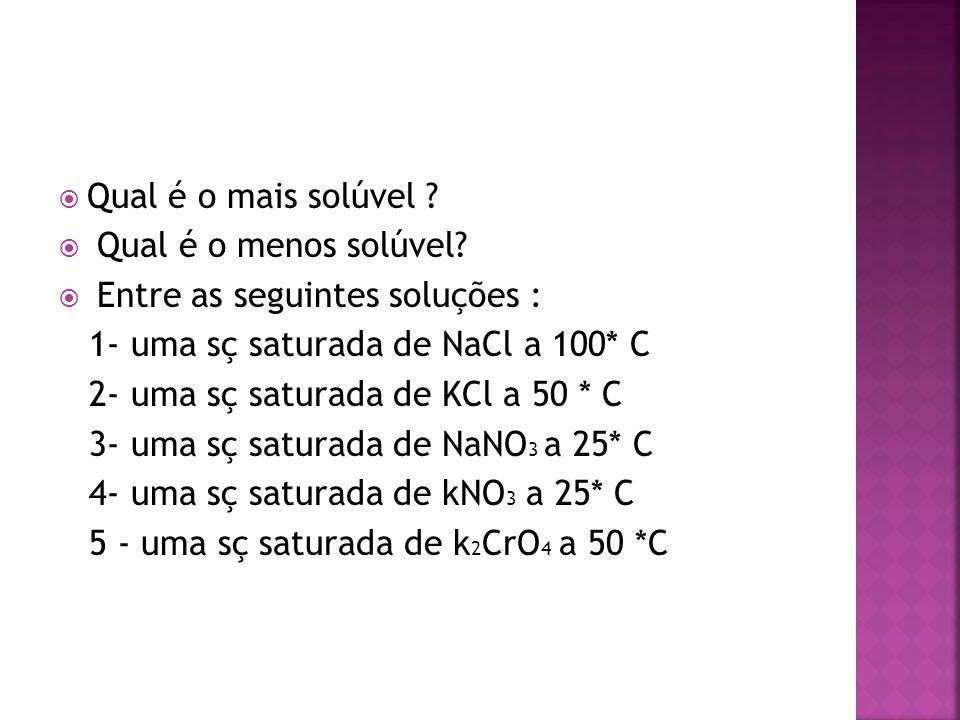  Qual é o mais solúvel ?  Qual é o menos solúvel?  Entre as seguintes soluções : 1- uma sç saturada de NaCl a 100* C 2- uma sç saturada de KCl a 50