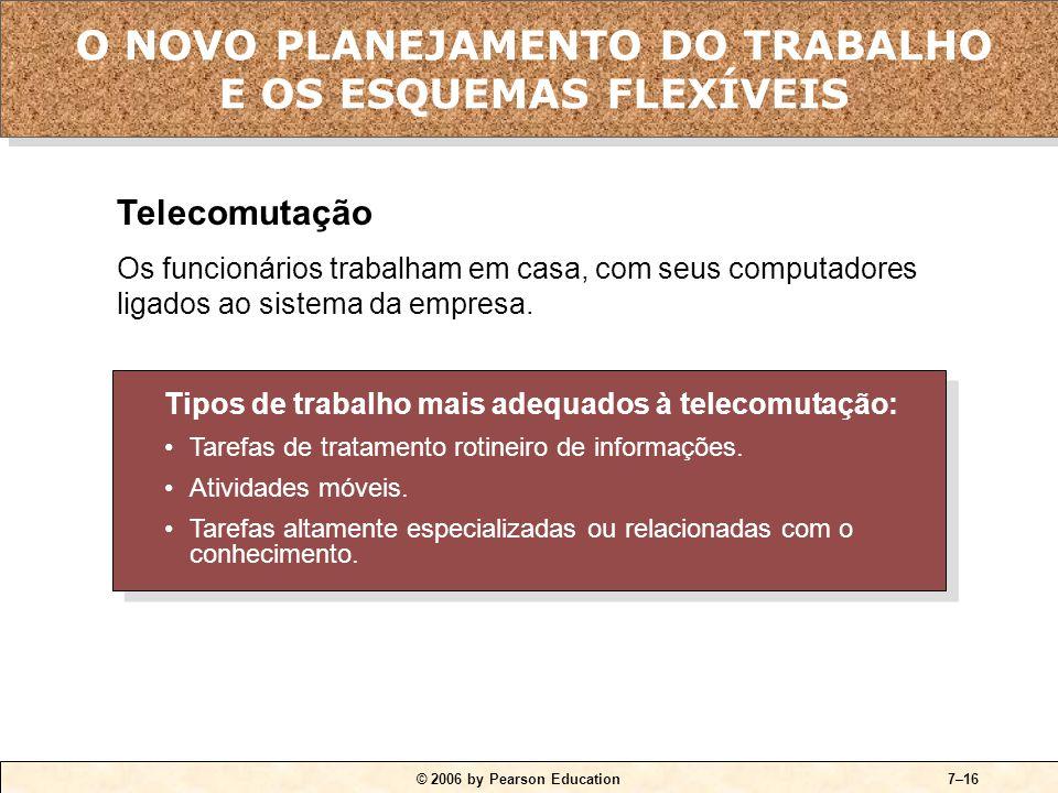 © 2006 by Pearson Education7–16 Tipos de trabalho mais adequados à telecomutação: •Tarefas de tratamento rotineiro de informações.