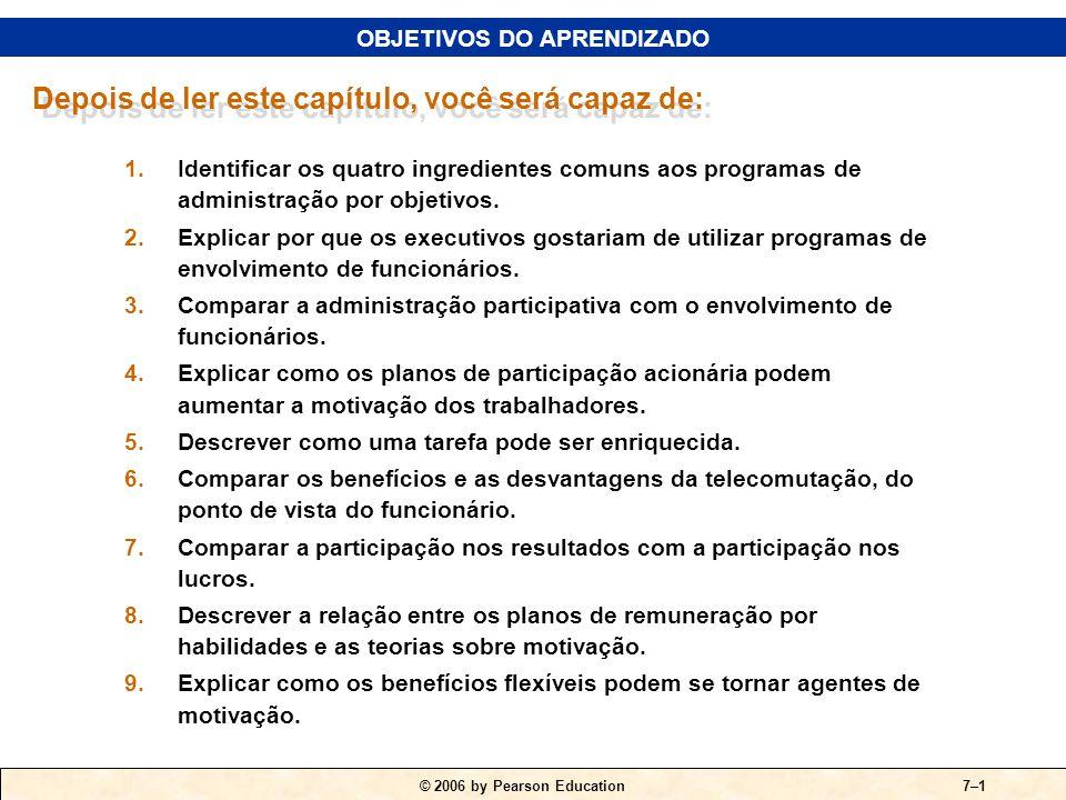 © 2006 by Pearson Education7–1 1.Identificar os quatro ingredientes comuns aos programas de administração por objetivos.