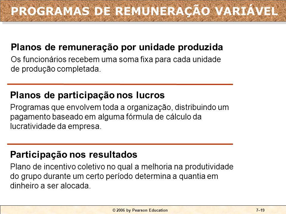 © 2006 by Pearson Education7–19 Planos de participação nos lucros Programas que envolvem toda a organização, distribuindo um pagamento baseado em alguma fórmula de cálculo da lucratividade da empresa.